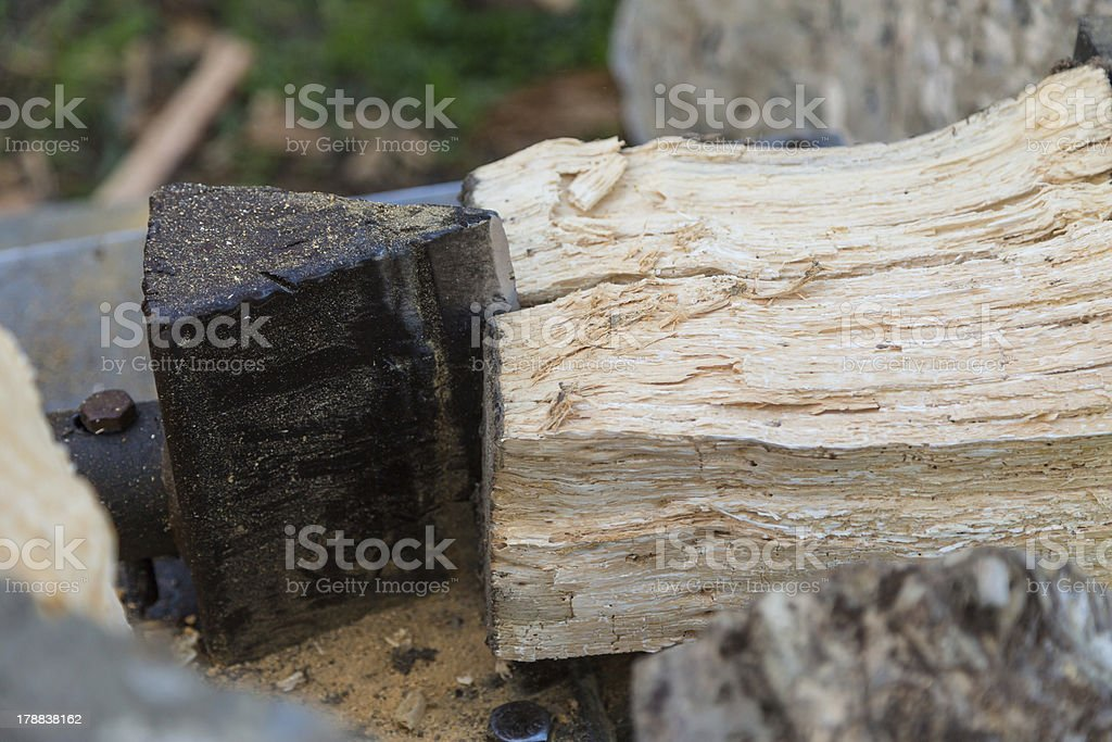 Close up of a wood splitter royalty-free stock photo