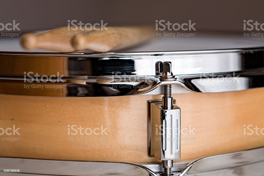 Close up of a wooden snare drum stock photo