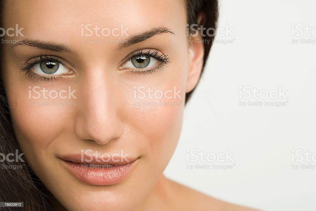Close up of a young beautiful woman stock photo