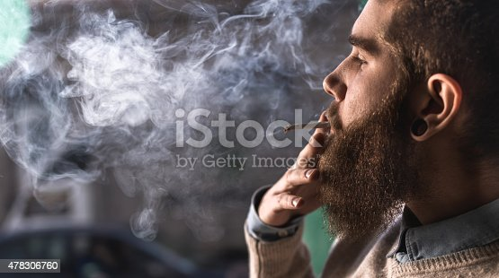 istock Close up of a young hipster smoking cigarette. 478306760