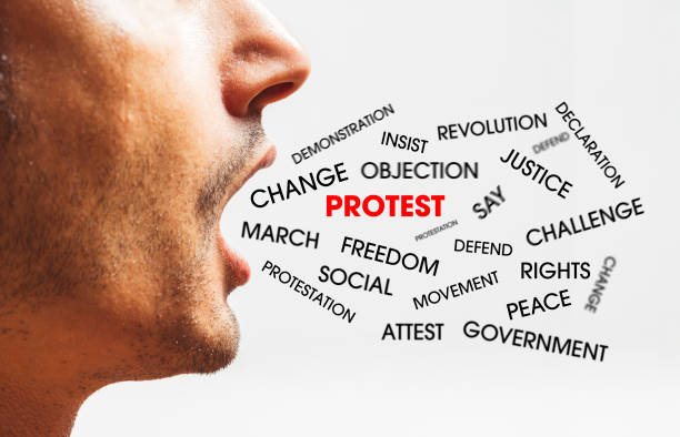 close up of a young man speaks and ask for change - change, protest concept stock photo