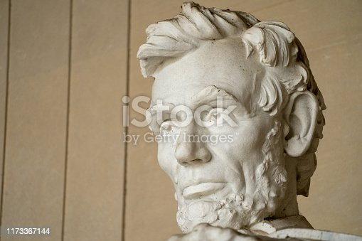 Close up of Abraham Lincoln face and head at the Lincoln Memorial in Washington DC