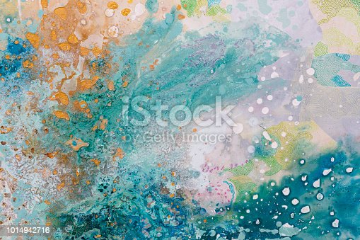 istock Close up of abstract painting. Oil picture. Colors splashing 1014942716