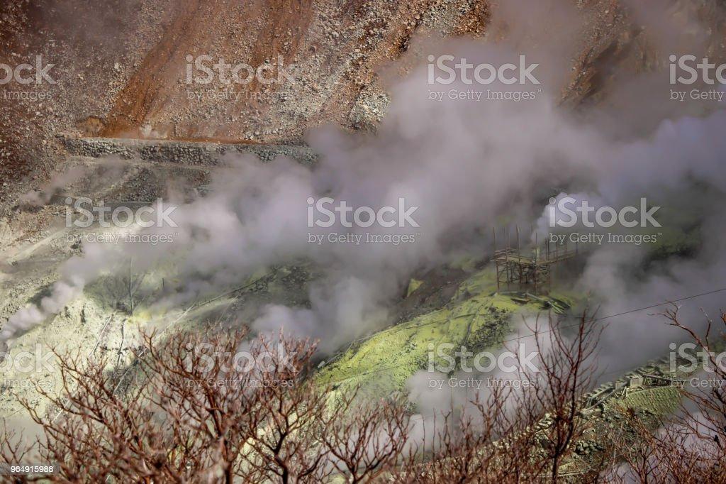 Close up of Active sulphur vents of Owakudani at Fuji volcano, Japan royalty-free stock photo