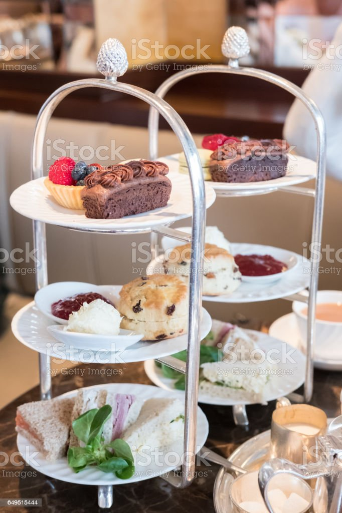 Close up of Afternoon Tea Set. stock photo