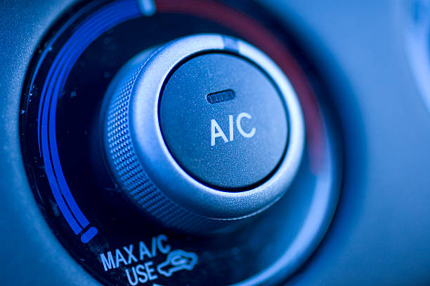 Close up of air conditioning button in a car stock photo