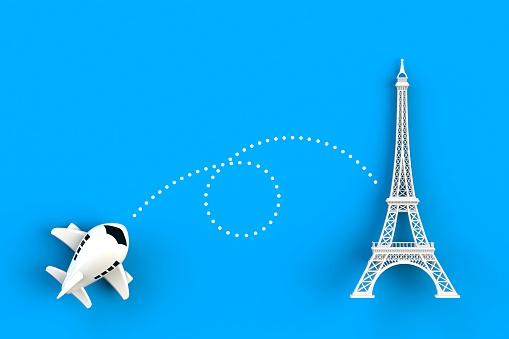 Close up of airplane flying go to eiffel tower concept illustration on blue background, Top view with copy space, 3d rendering