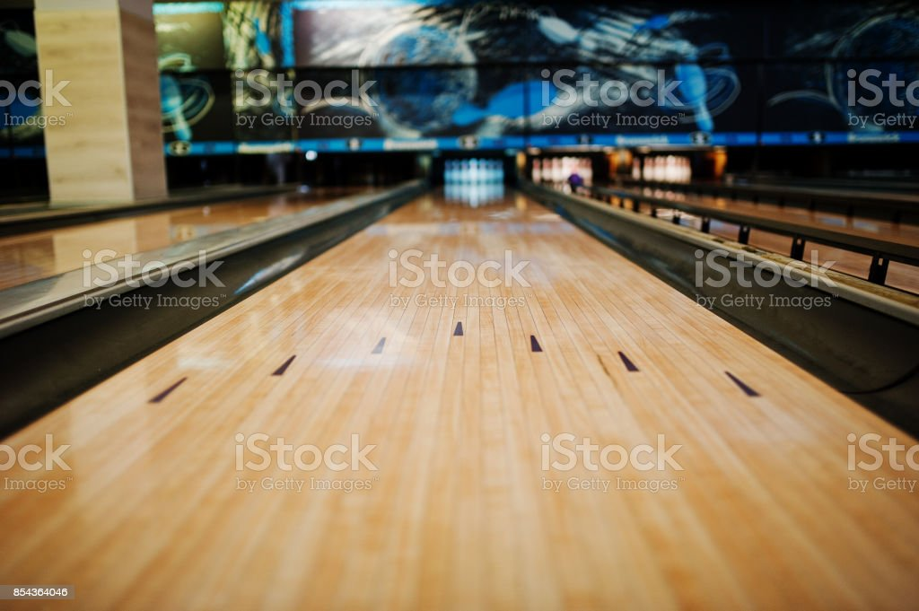 Close up of alley at bowling club. stock photo