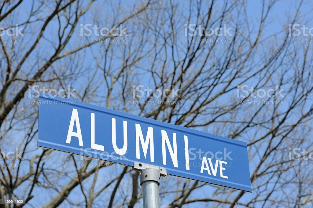 Close up of alumni avenue street sign stock photo