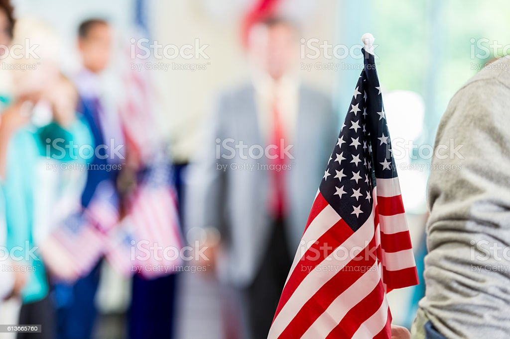 Close up of American flag during political rally stock photo