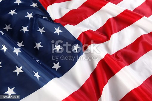 istock Close up of American flag 689323626