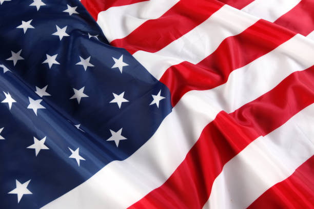 close up of american flag - national anthem stock photos and pictures