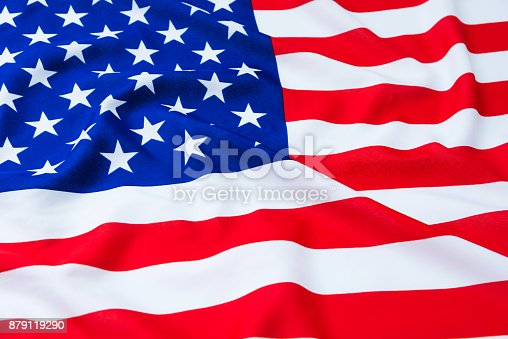 687972458 istock photo Close up of American flag 879119290
