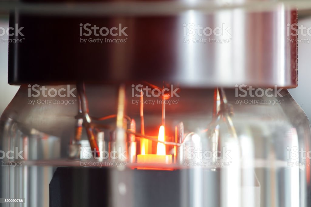 close up of amplifier vacuum tube background. stock photo