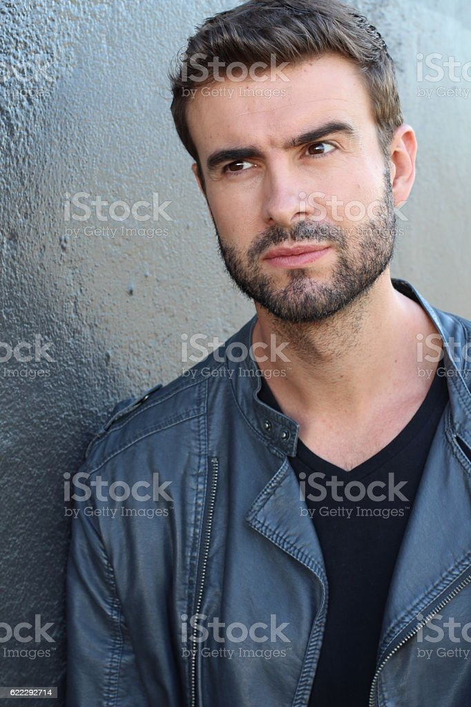 Close up of an angry young man stock photo