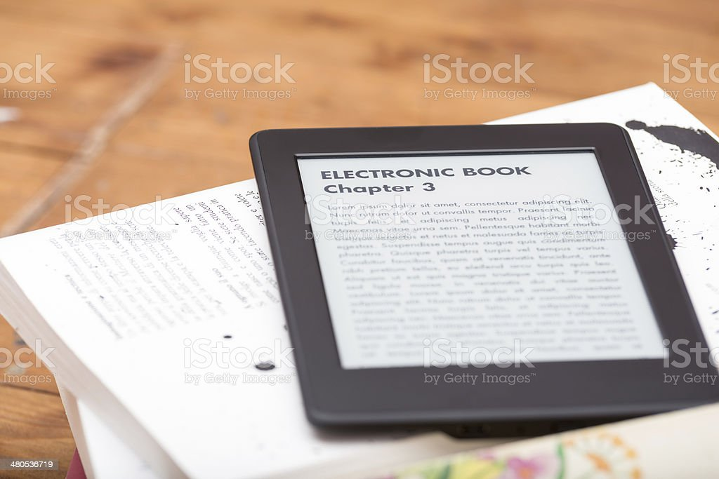 Close up of an e-book reader royalty-free stock photo