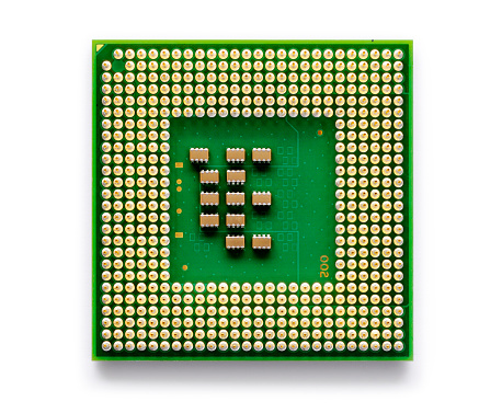 Low power microprocessor for portable computers - isolated on white with soft shadow + clipping path