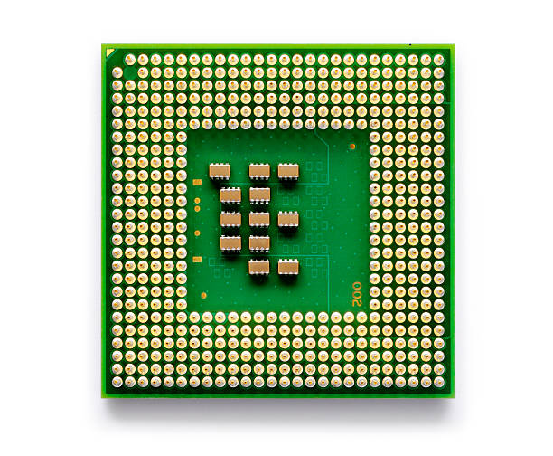 A close up of an electronic chip used for technology  Low power microprocessor for portable computers - isolated on white with soft shadow + clipping path computer chip stock pictures, royalty-free photos & images