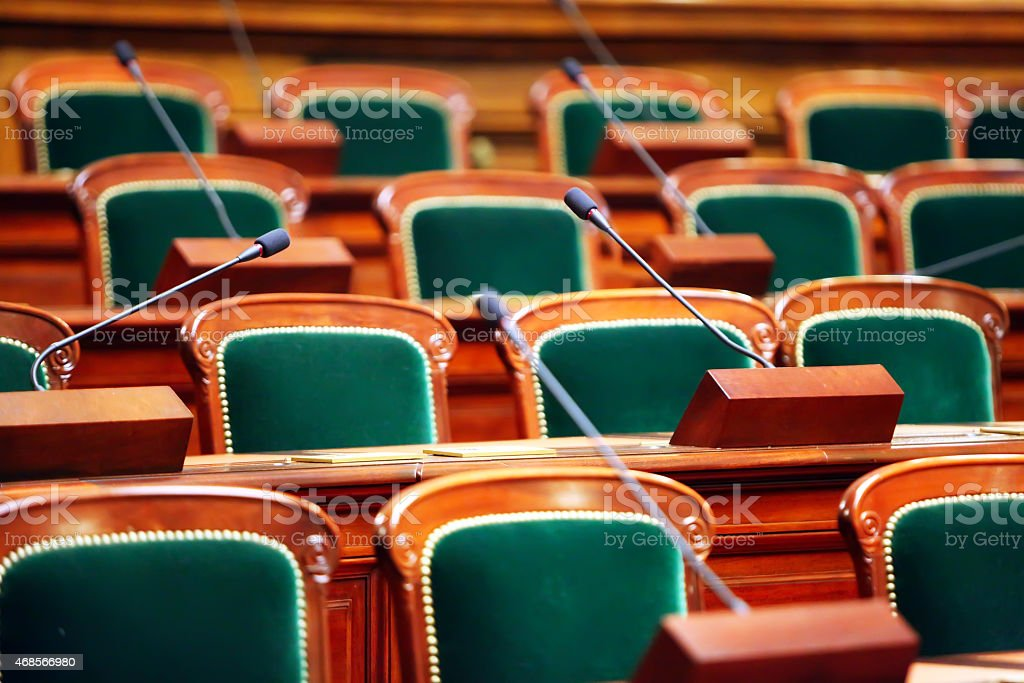 Close up of an empty vintage congress hall stock photo