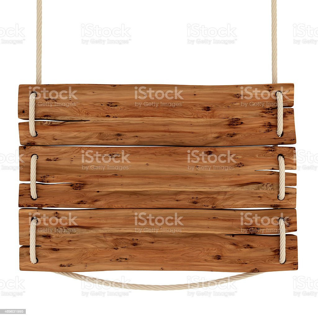 close up of an empty wooden sign on white background stock photo