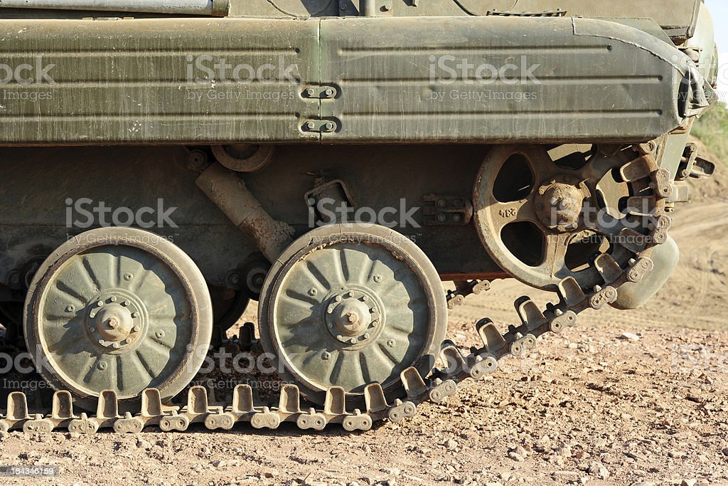 close up of an old battle tank stock photo