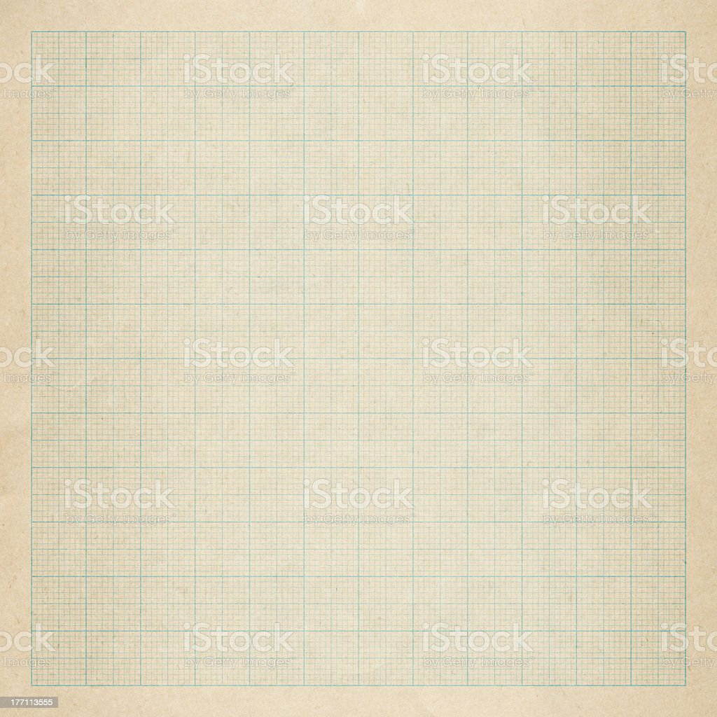 Close up of an old graph paper stock photo