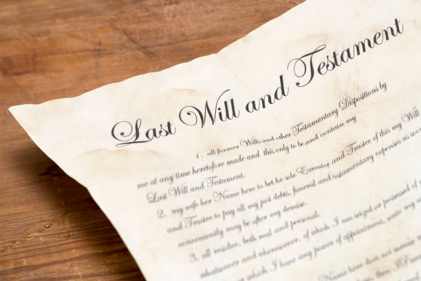 Close Up of an Old Last Will and Testament Document Close up of an old last will and testament document last stock pictures, royalty-free photos & images