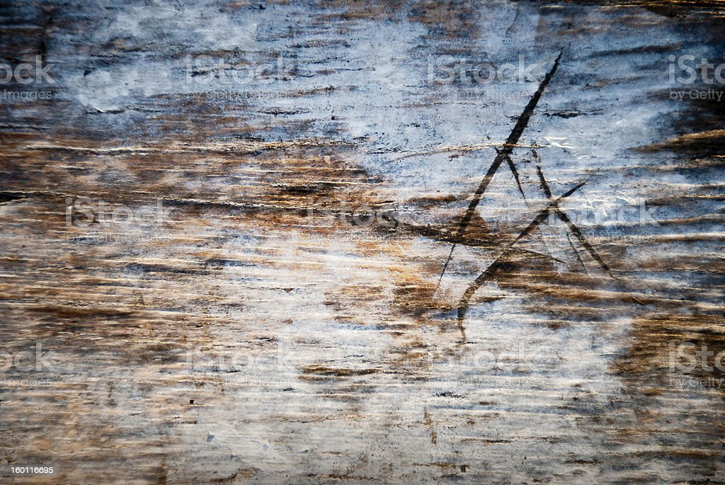Close up of an old worn skateboard deck stock photo