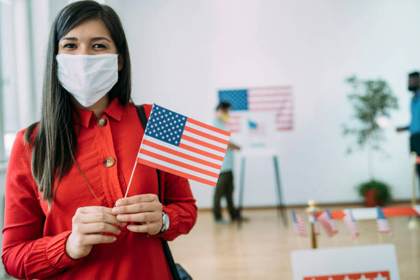 Close up of an young asian woman on Election Day