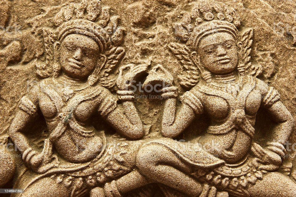 close up of ancient Cambodian angel stucco stock photo