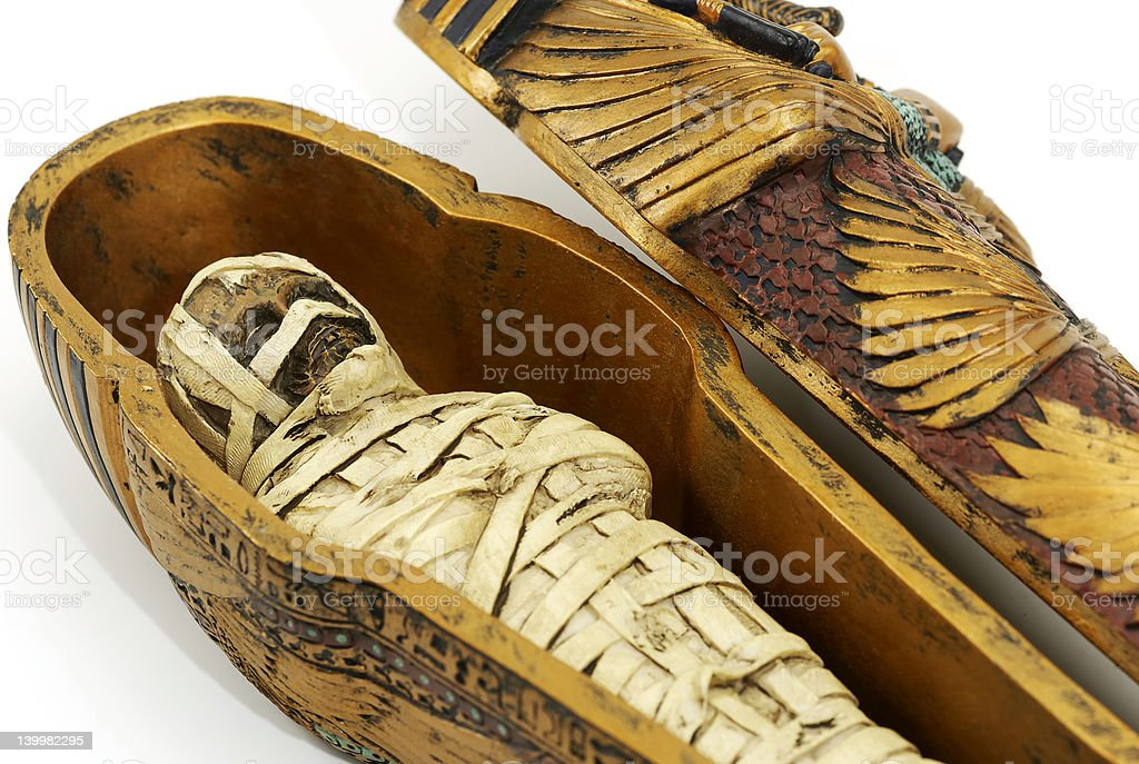 Close up of ancient mummy casket stock photo