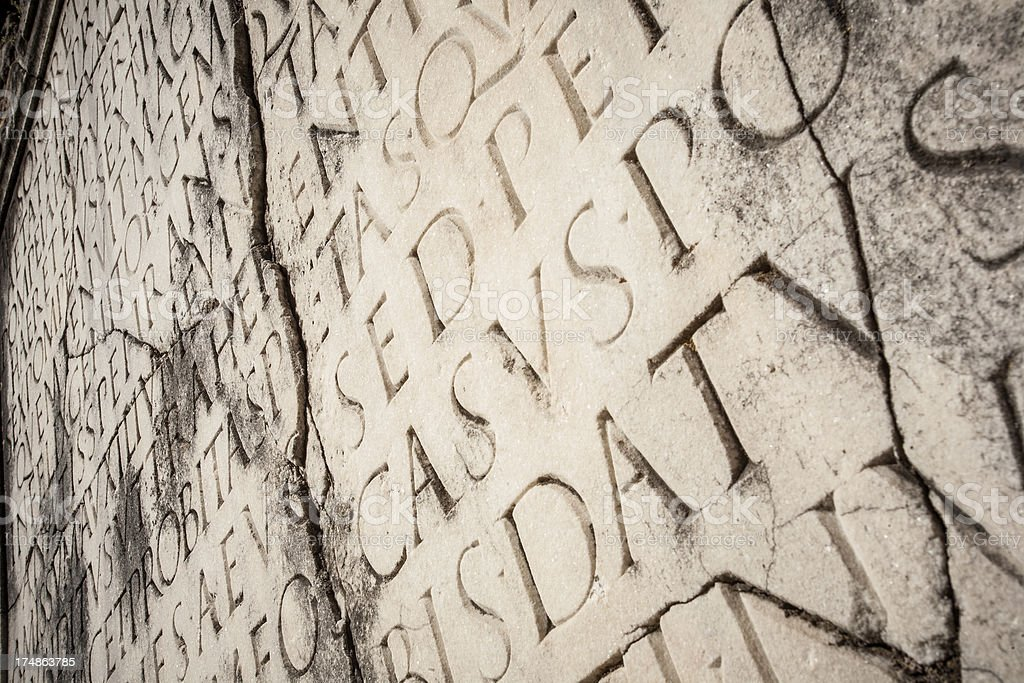 Close Up of Ancient Roman Latin Script stock photo