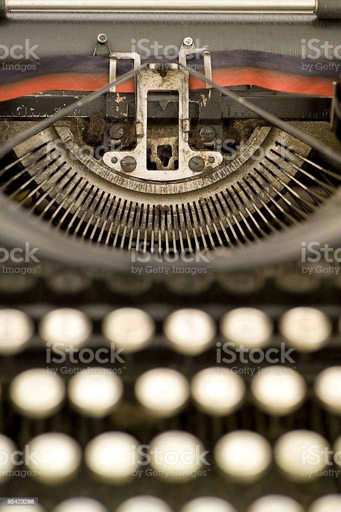 Close up of ancient typewriter with narrrow focus royalty-free stock photo