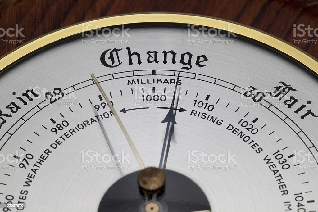 Close up of Aneroid Barometer stock photo