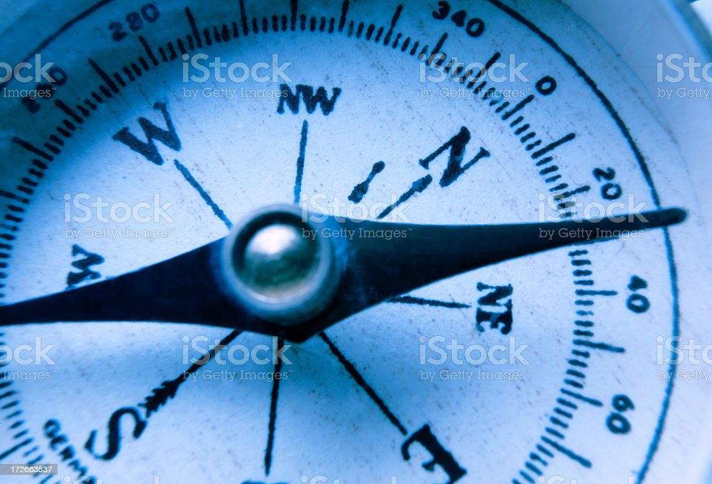 Close Up Of Antique Compass Face royalty-free stock photo