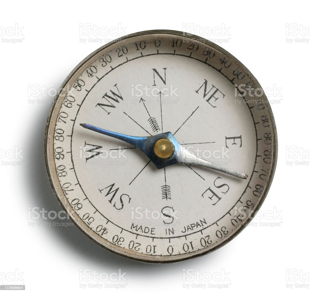 Close Up Of Antique Compass On White Background royalty-free stock photo