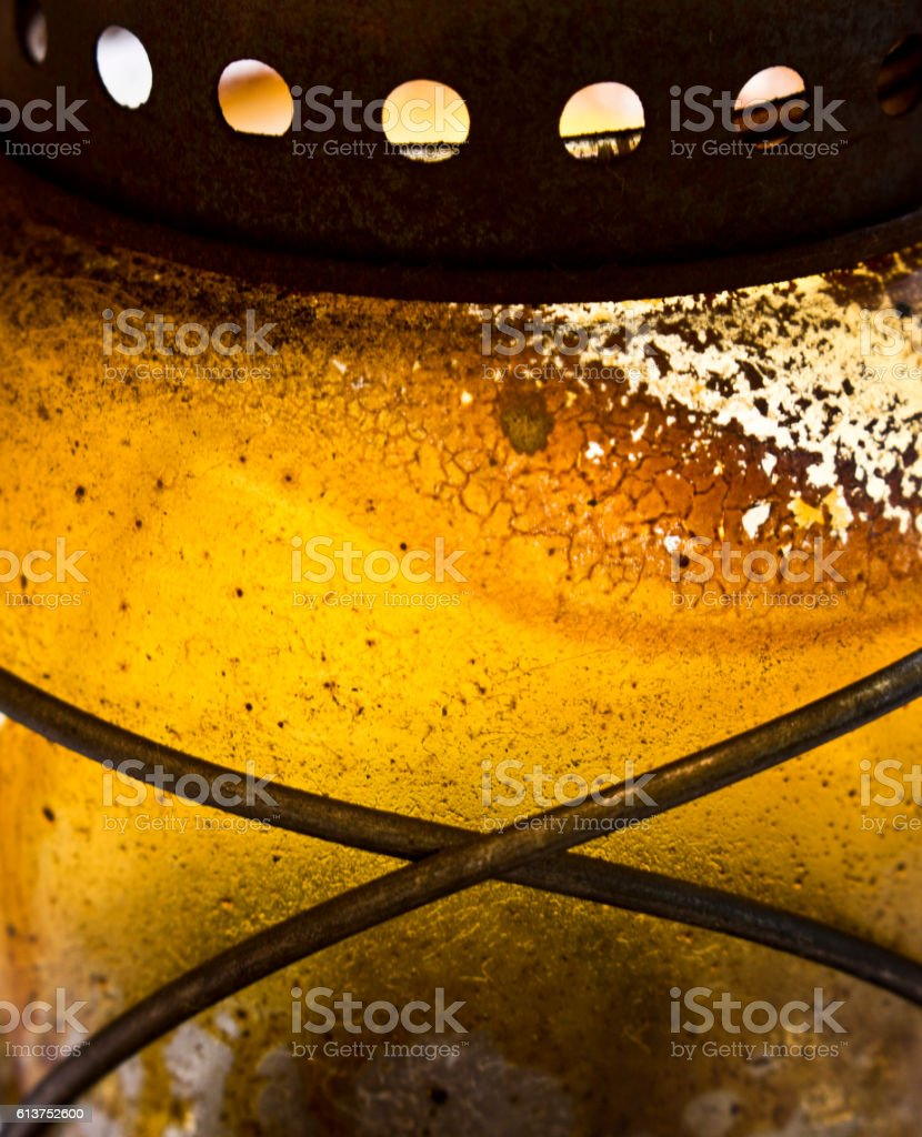 Close Up of Antique Yellow Oil Lantern stock photo