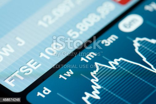 Amsterdam, The Netherlands - June 8, 2011: Close up of Apple iPhone screen with stock exchange