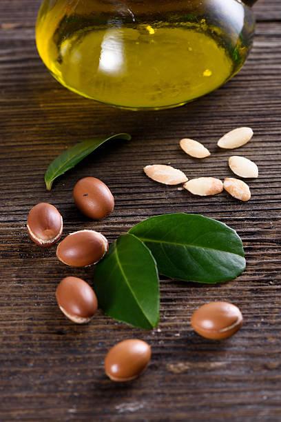 Close up of Argan fruits and oil stok fotoğrafı