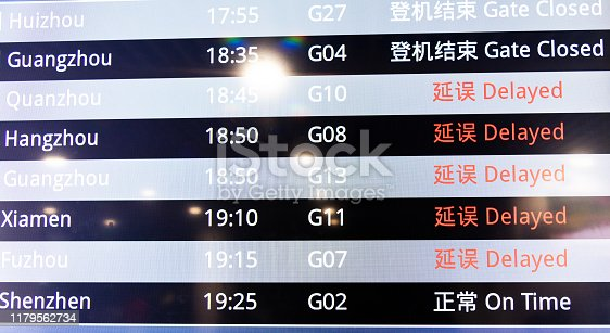 Close up of arrivals information board.
