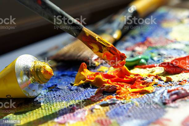 Close Up Of Artists Palette With Paint Tube And Brush Stock Photo - Download Image Now