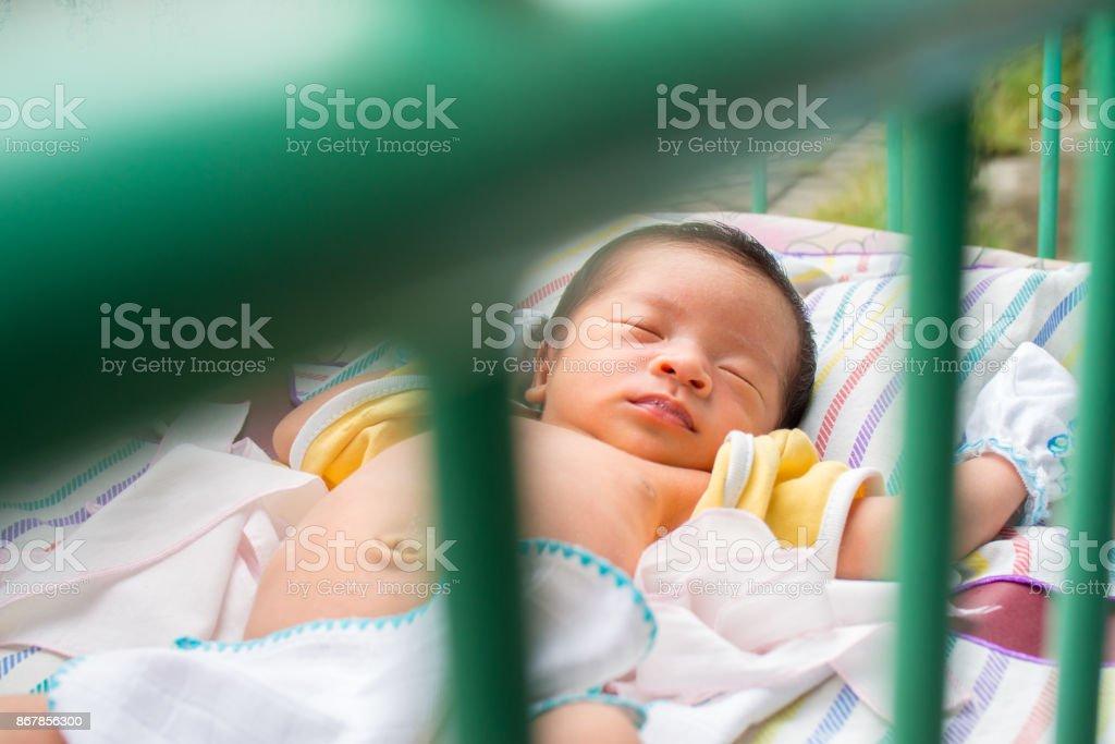 Close Up of Asian Baby Sleeping stock photo