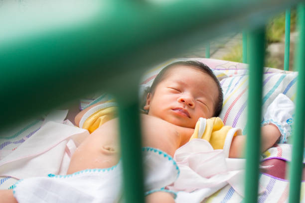 Close Up of Asian Baby Sleeping stock photo