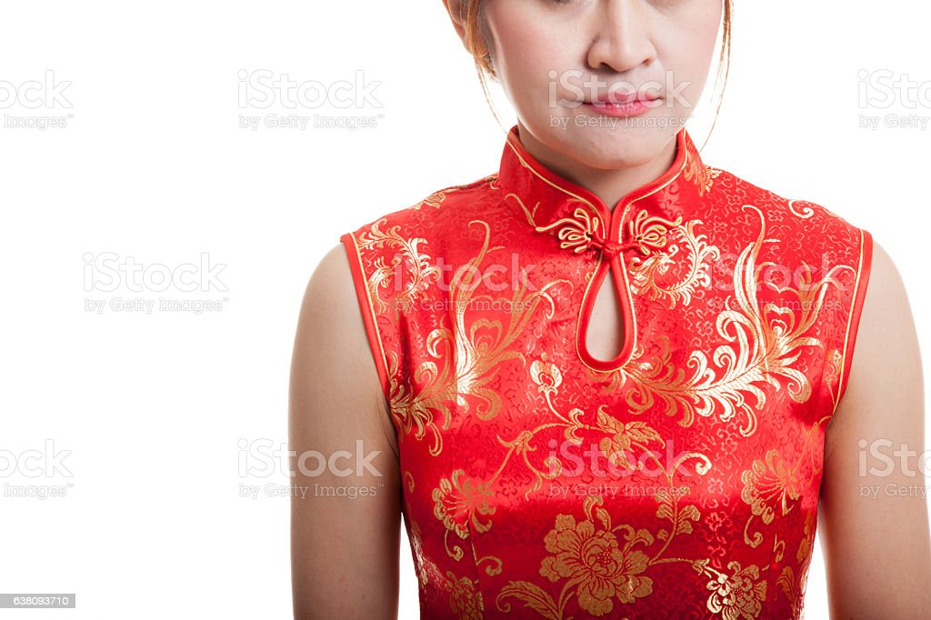 Close up of Asian girl in chinese cheongsam dress. royalty-free stock photo