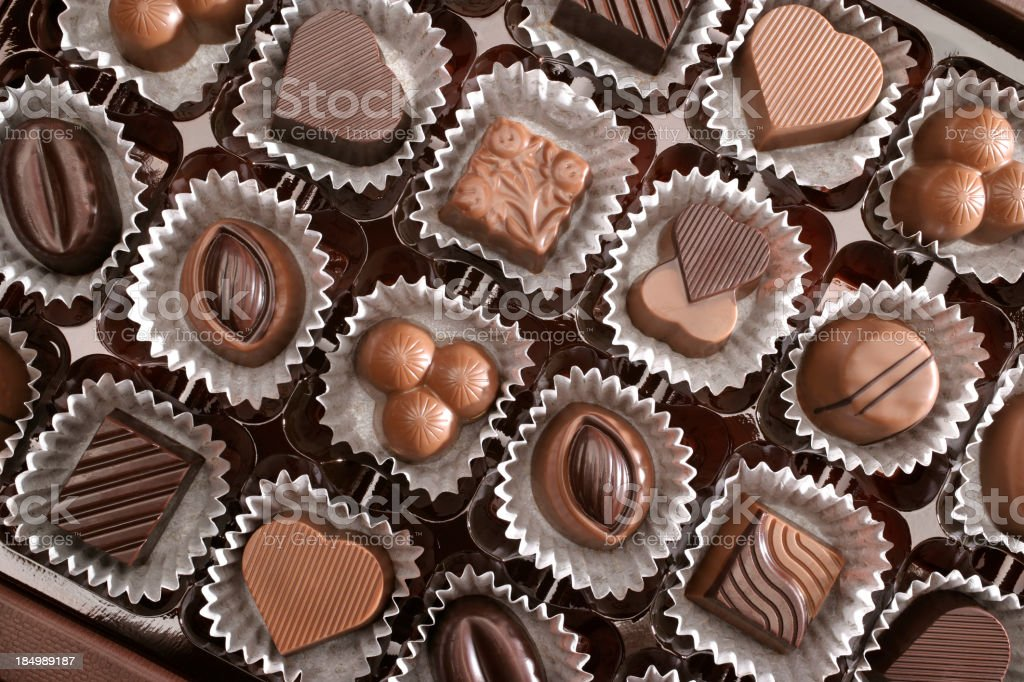 Close up of assorted chocolates royalty-free stock photo