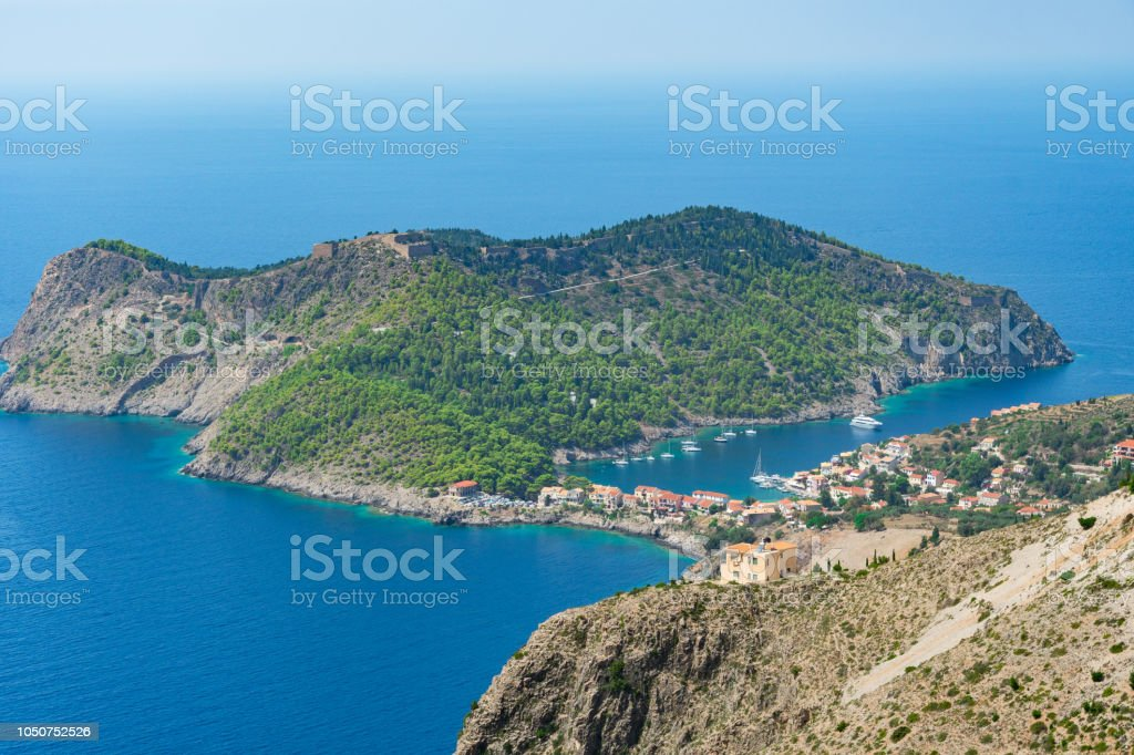 Close up of Assos peninsula in Kefalonia ionian island in Greece stock photo