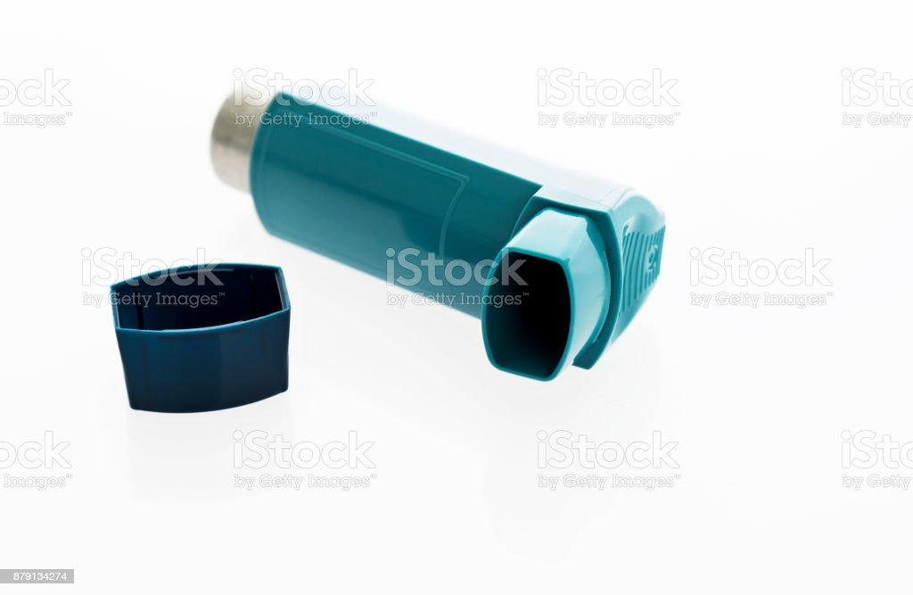 Close up of asthma inhaler stock photo