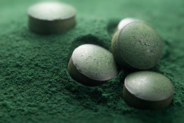 närbild på atisanal spirulina tabletter och pulver - spirulinabakterie bildbanksfoton och bilder
