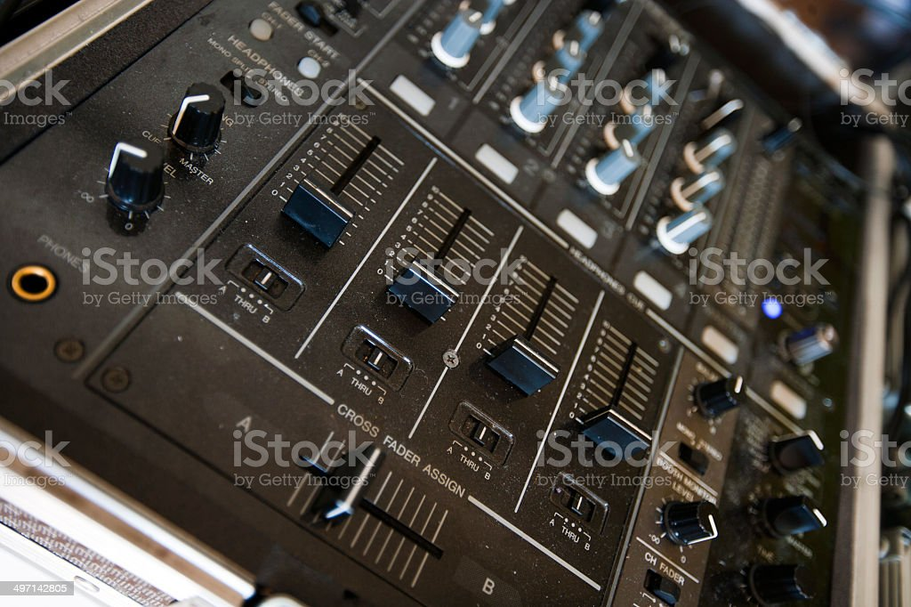 Close up of audio console stock photo