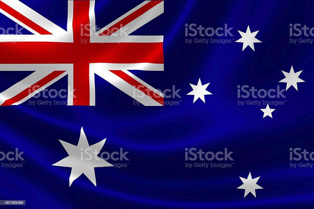 Close Up of Australia's Flag on Satin Textile royalty-free stock photo